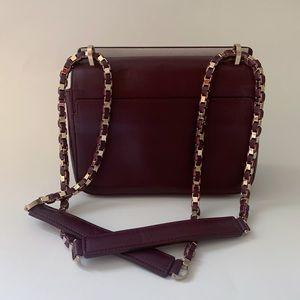 Elie Saab eggplant leather shoulder bag